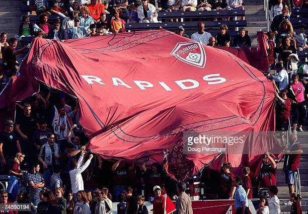 Fans unfurl a large Colorado Rapids banner during the MLS match between the Los Angeles Galaxy and the Colorado Rapids at Dick's Sporting Goods Park...