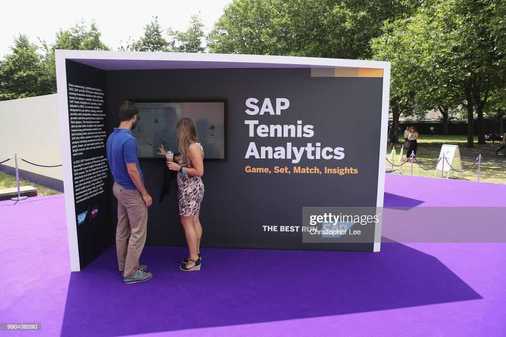 Fans view the displays during the WTA Tennis On The Thames in Bernie Spain Gardens on June 28, 2018 in London, England.