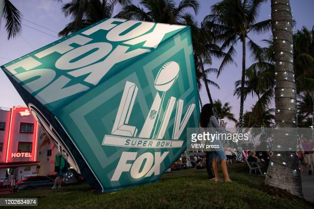 Fans visit the FOX Sports South Beach studio compound on January 28 2020 in Miami USA The Super Bowl XLIV will take place in the Hard Rock Stadium in...