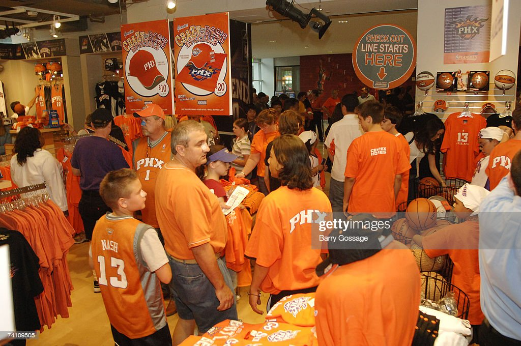 sports shoes 7181a 71a9c Fans visit the Phoenix Suns Team Shop as the Suns host the ...