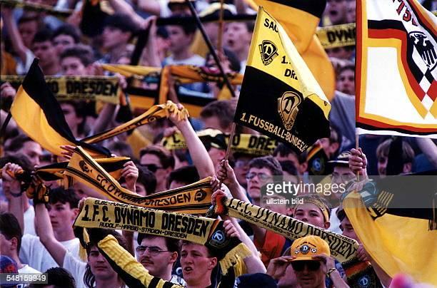 Fans von Dynamo Dresden mit Fahnen und Schals auf der Stehplatz - Tribüne im Rudolf-Harbig-Stadion in Dresden beim Bundesliga - Spiel Dynamo Dresden...