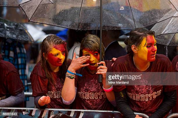Fans wait ahead of the 'Harry Potter and the HalfBlood Prince' film premiere at the Odeon Leicester Square on July 7 2009 in London England