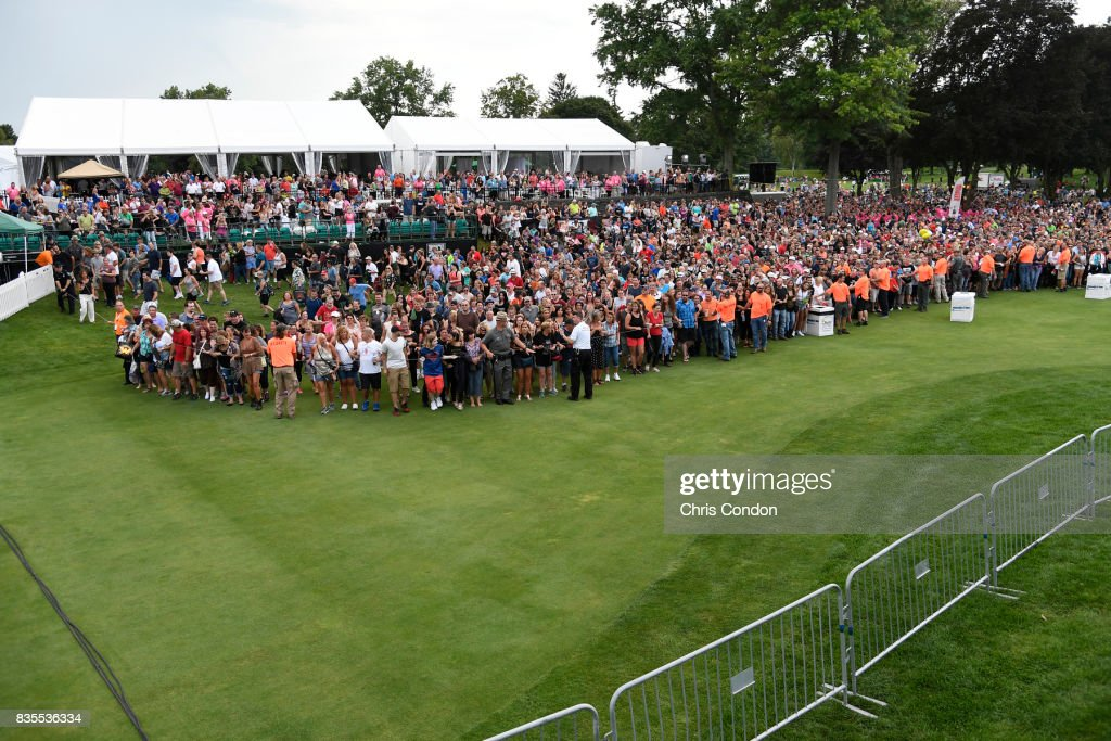 Fans wait for Bon Jovi to perform after the first round of the PGA TOUR Champions DICK'S Sporting Goods Open at En-Joie Golf Course on August 18, 2017 in Endicott, New York.