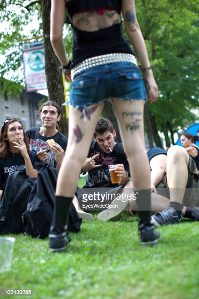 Fans wait for getting into Villa Manin prior to a concert of the english Heavy Metal band Iron Maiden with singer Bruce Dickinson on August 17 2010...