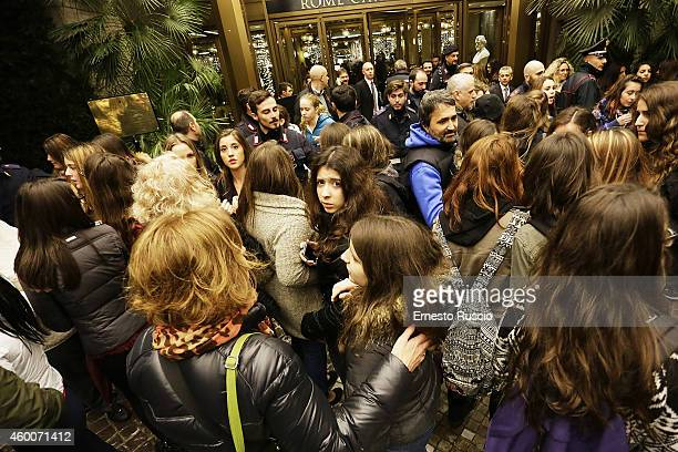 Fans wait for One Direction at Hotel Hilton on December 6 2014 in Rome Italy