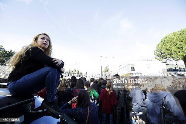 Fans wait for One Direction at Studios Elios on December 6 2014 in Rome Italy