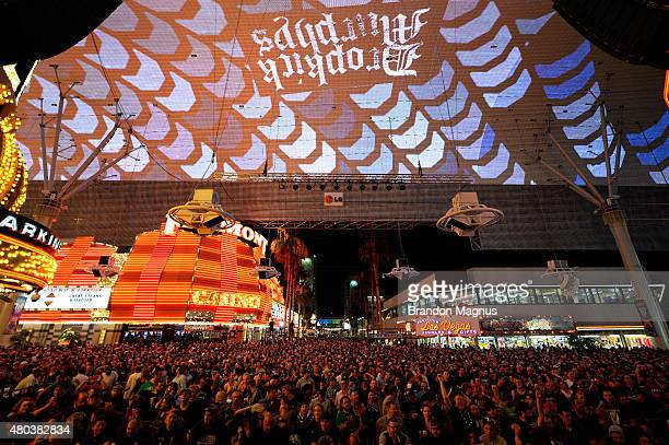 Fans wait for the Dropkick Murphys to come on stage during UFC International Fight Week Free Concert at the Fremont Street Experience on July 10 2015...
