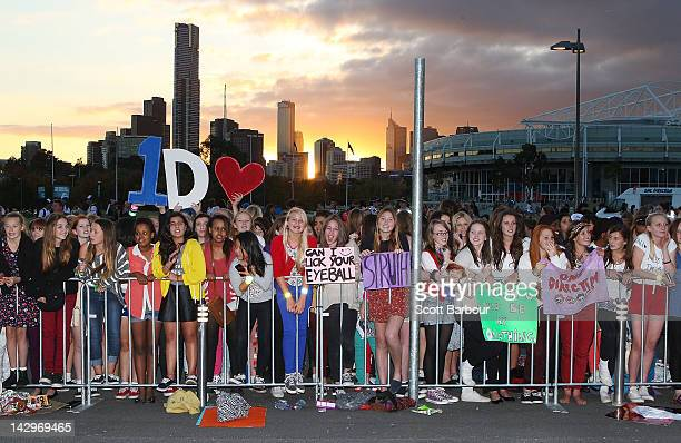 Fans wait for the gates to open outside of the One Direction concert at Hisense Arena on April 16 2012 in Melbourne Australia