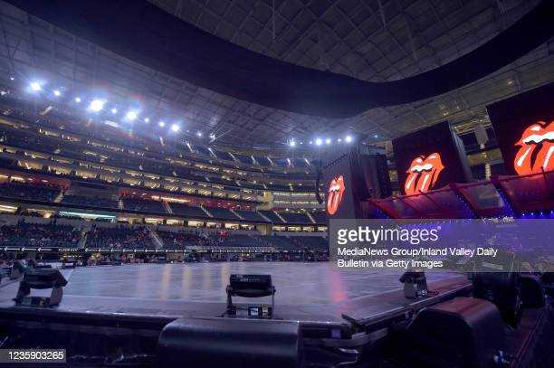 Fans wait for the Rolling Stones to hit the stage for the first of two shows at SoFi Stadium as a part of the bands No Filter Tour in Inglewood on...