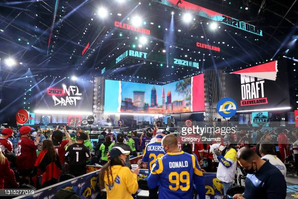 Fans wait for the start of the 2021 NFL Draft at the Great Lakes Science Center on April 29, 2021 in Cleveland, Ohio.
