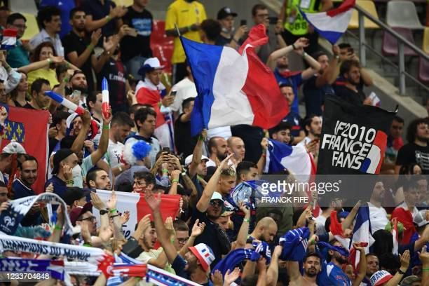 Fans wait for the start of the UEFA EURO 2020 round of 16 football match between France and Switzerland at the National Arena in Bucharest on June...
