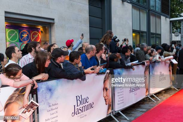 Fans wait for the talent outside the theater prior to the Paris premiere of 'Blue Jasmine' at UGC Cine Cite Bercy on August 27 2013 in Paris France