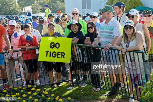 Fans wait for Tiger Woods during the second round of the Arnold Palmer Invitational presented by MasterCard at Bay Hill Club and Lodge on March 16...
