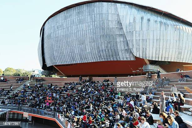 Fans wait hours before 'The Hunger Games Catching Fire' Premiere during the 8th Rome Film Festival at the Auditorium Parco Della Musica on November...