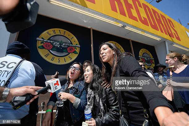 Fans wait in line as Guns N' Roses announce concert and ticket giveaway at Tower Records on April 1, 2016 in West Hollywood, California.
