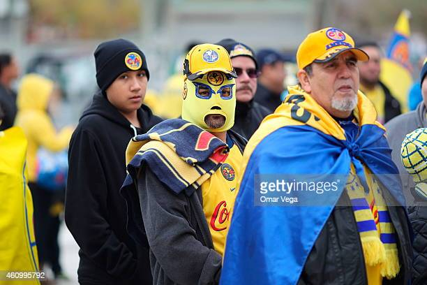Fans wait in line before a friendly match between America and Monterrey at BBVA Compass Stadium on January 03 2015 in Houston United States