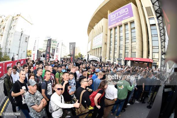 Fans wait in line during the UFC Fan Experience at the UFC Fight Night event at Olimpiysky Arena on September 15 2018 in Moscow Russia