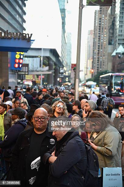 Fans wait in line for the 'Shin Godzilla' premiere presented by Funimation Films at AMC Empire 25n2016 New York Comic Con on October 5 2016 in New...