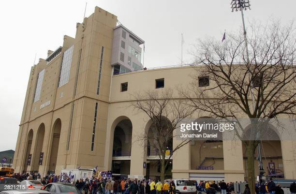 Fans wait in line outside the stadium before the game between the Michigan Wolverines and the Northwestern Wildcats on November 15, 2003 at Ryan...