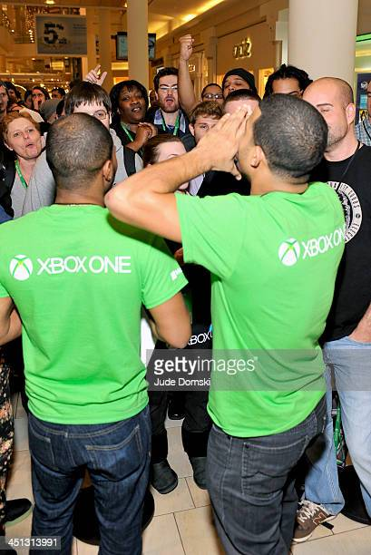 Fans wait in line to pick up the newly released Xbox One outside the Burlington Mall on November 21 2013 in Burlington Massachusetts