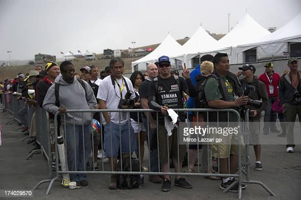 Fans wait in paddock during the MotoGp Red Bull US Grand Prix Free Practice at Mazda Raceway Laguna Seca on July 19 2013 in Monterey California