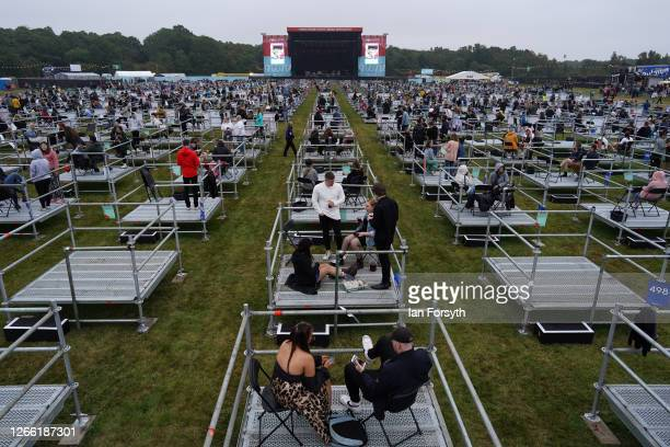 Fans wait in socially distanced enclosures to see Sam Fender as he performs at the Virgin Money Unity Arena on August 13, 2020 in Newcastle upon...