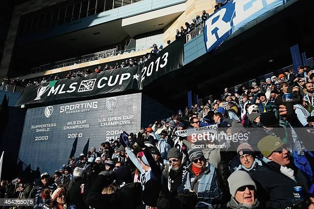 Fans wait in the stands before of the start of the game between Real Salt Lake and Sporting Kansas City in the 2013 MLS Cup at Sporting Park on...