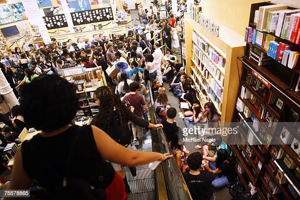 Fans wait inside the Barnes Noble Booksellers Union Square for author JK Rowling's novel Harry Potter and the Deathly Hallows to go on sale at...