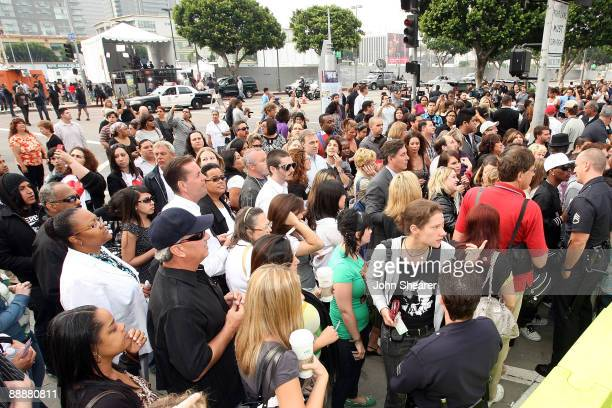 Fans wait outside outside the Michael Jackson public memorial service held at Staples Center on July 7, 2009 in Los Angeles, California. Jackson the...