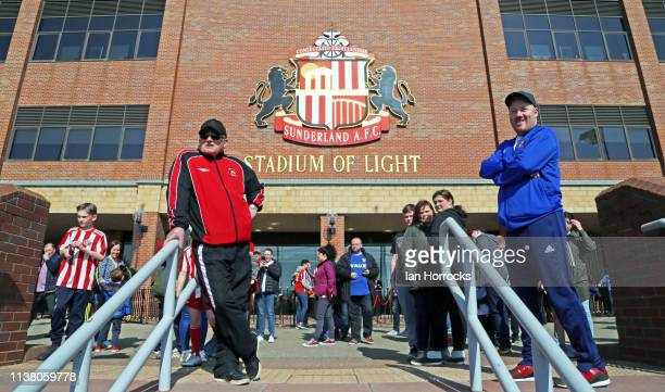 Fans wait outside the stadium before the Sky Bet League One match between Sunderland and Doncaster Rovers at Stadium of Light on April 19 2019 in...