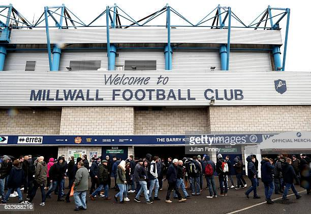 Fans wait outside the stadium prior to The Emirates FA Cup Fourth Round match between Millwall and Watford at The Den on January 29 2017 in London...