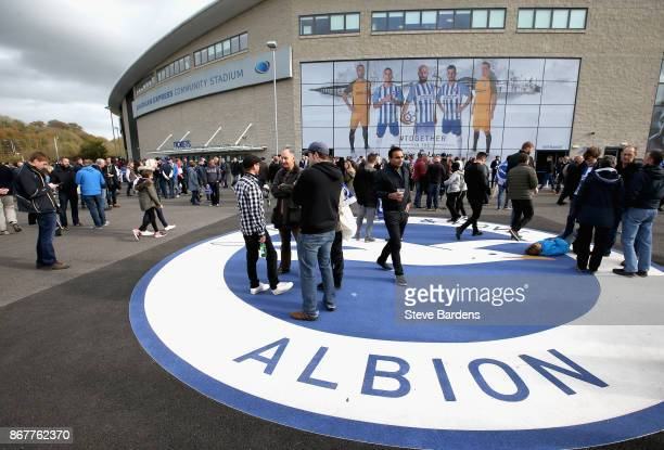 Fans wait outside the stadium prior to the Premier League match between Brighton and Hove Albion and Southampton at Amex Stadium on October 29 2017...