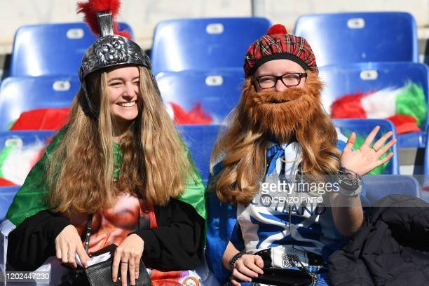 Fans wait prior to the Six Nations international rugby union match between Italy and Scotland at the Olympic stadium in Rome on February 22, 2020.