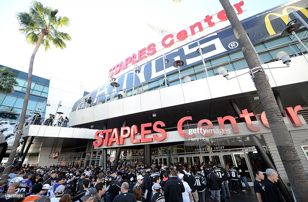 Fans wait to enter the arena for the NHL season opening game between the Chicago Blackhawks and the Los Angeles Kings at Staples Center on January 19, 2013 in Los Angeles, California.