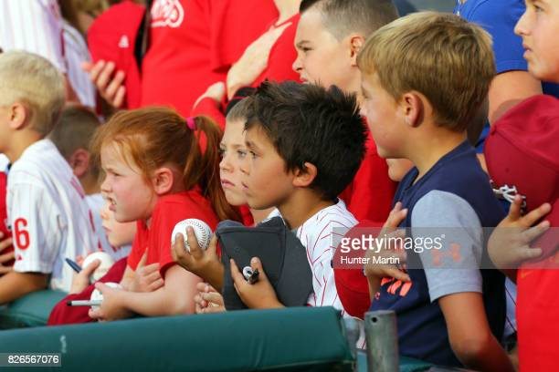 Fans wait to get autographs before a game between the Philadelphia Phillies and the Atlanta Braves at Citizens Bank Park on July 29, 2017 in...