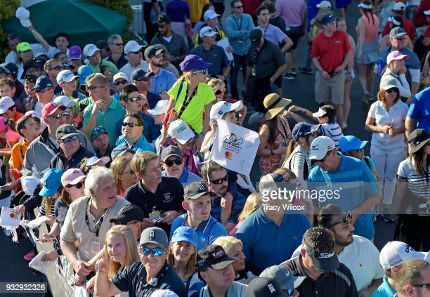 Fans wait to get autographs during the second round of the Arnold Palmer Invitational presented by MasterCard at Bay Hill Club and Lodge on March 16...