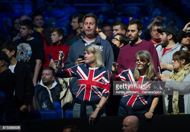 Fans waiting for David Goffin of Belgium and Dominic Thiem of Austria to arrive for their Group Pete Sampras match today Goffin def Thiem 64 61 at O2...