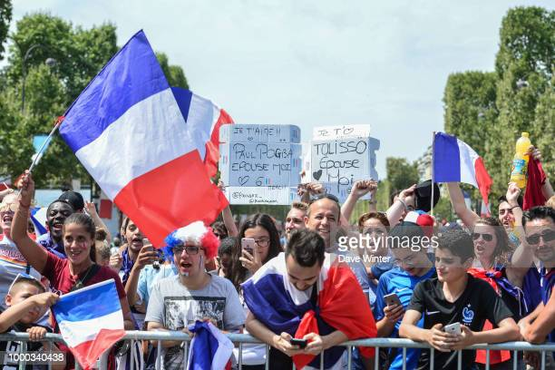 Fans waiting for the France team victory parade on the Champs Elysees July 16 2018 in Paris France