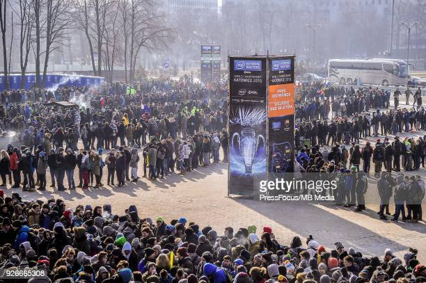 Fans waiting to get into the Spodek Arena before CounterStrike Global Offensive semi final game between Astralis and FaZe Clan on March 3 2018 in...