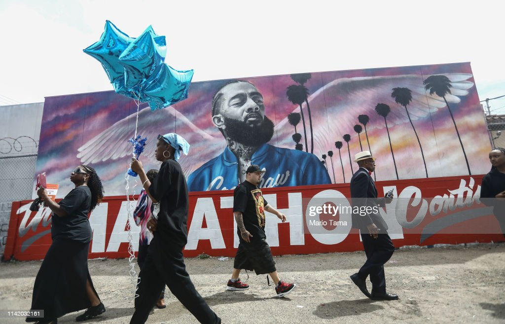 Funeral Procession Of Hip Hop Artist And Community Activist Nipsey Hussle Travels Through His L.A. Neighborhood : News Photo