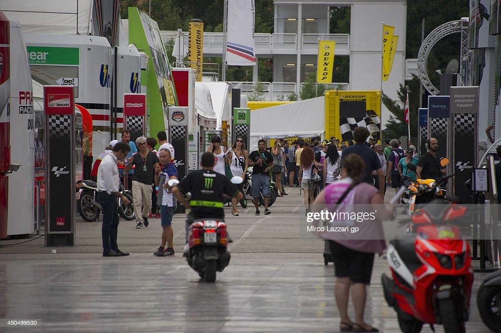 Fans walk in paddock during the MotoGp of Catalunya- Previews at Circuit de Catalunya on June 12, 2014 in Montmelo, Spain.