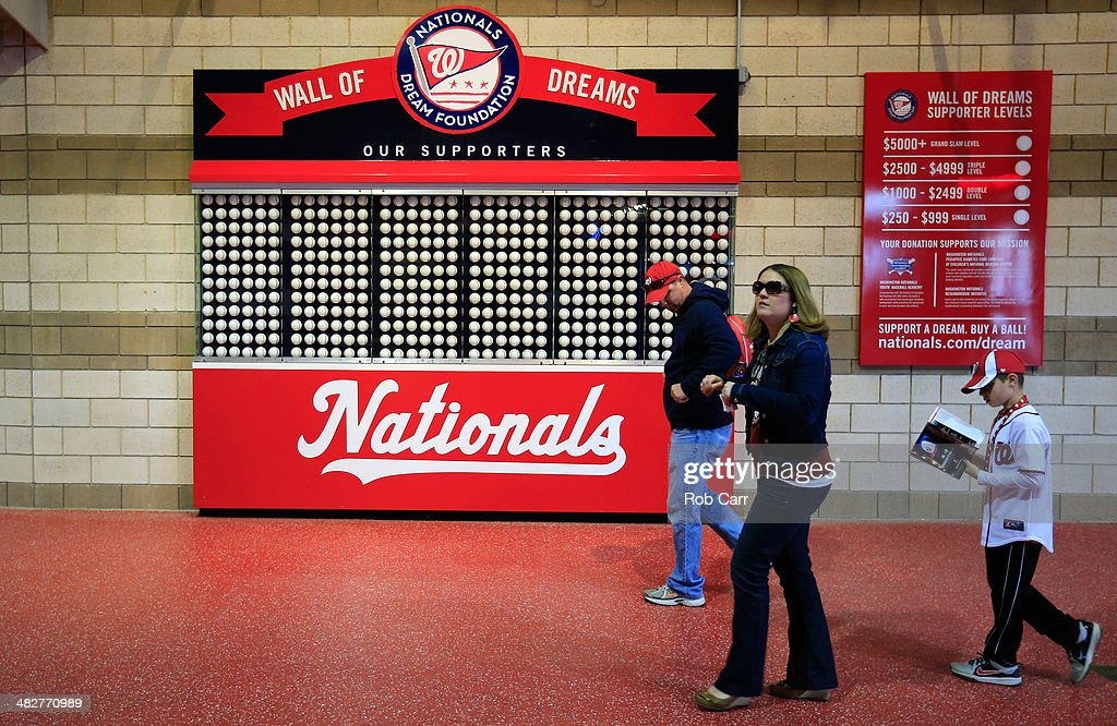 Fans walk in the concourse before the start of the Washington Nationals and Atlanta Braves game during the Nationals home opener at Nationals Park on April 4, 2014 in Washington, DC.