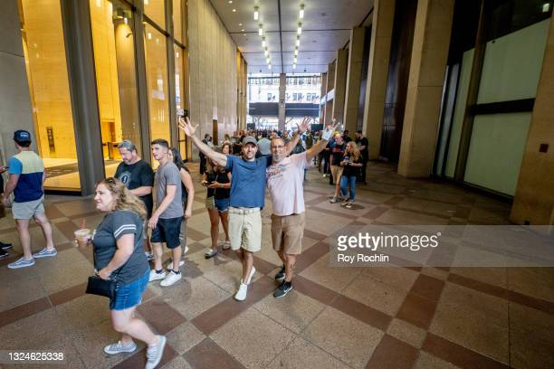 Fans walk into the the Foo Fighters show as Madison Square Garden reopens with the first full capacity concert since March 2020 on June 20, 2021 in...