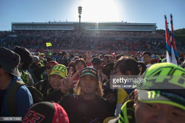 Fans walk on track at the end of the MotoGP race during the MotoGP race during the MotoGP of Japan - Race at Twin Ring Motegi on October 21, 2018 in...