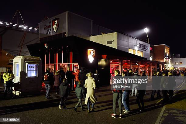 Fans walk outside the stadium prior to the Barclays Premier League match between AFC Bournemouth and Southampton at Vitality Stadium on March 1 2016...