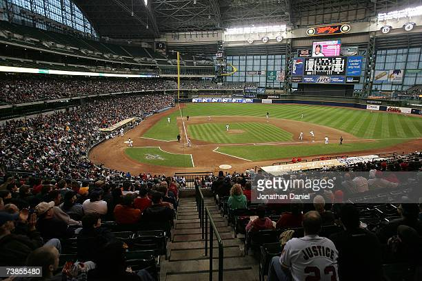 Fans watch a game between the Cleveland Indians and the Los Angeles Angels of Anaheim on April 10, 2007 at Miller Park in Milwaukee, Wisconsin. The...
