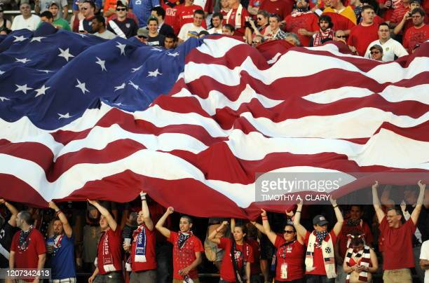 Fans watch action between the US and the Czech Republic in a warmup game for the FIFA World Cup Tuesday at Rentschler Field in East Hartford...