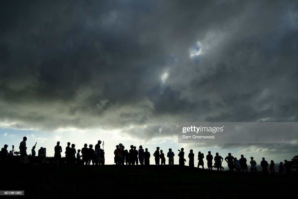 Fans watch action on the 17th tee during the first round of the Sentry Tournament of Champions at Plantation Course at Kapalua Golf Club on January 4, 2018 in Lahaina, Hawaii.