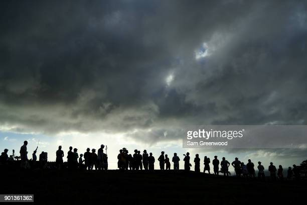 Fans watch action on the 17th tee during the first round of the Sentry Tournament of Champions at Plantation Course at Kapalua Golf Club on January...