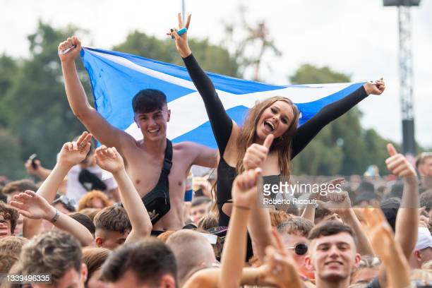 Fans watch AJ Tracey performing on the Main stage during the first day of TRNSMT Festival 2021 on September 10, 2021 in Glasgow, Scotland.